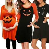 Pregnant Womens Nursing Nightgown Pregnancy Halloween Devil Print Pumpkin Dress