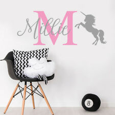 Personalised Nursery Unicorn Wall Sticker Decal Children Bedroom Kids Girl