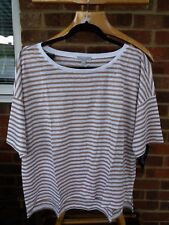 Pure Collection Luxury Linen Relaxed T-Shirt - Sand Stripe UK Size 20 - RRP £49