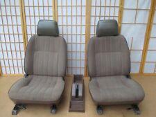 86-97 Nissan Pickup Truck Interior Front TAN Bucket Seat SET w/ Center Console