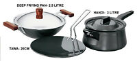 Hawkins Futura Cookware Non Stick Set Tawa Deep Frying Pan + Lid Handi With Lid