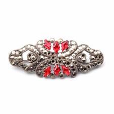 brooch element red marcasite glass rhinestones Vintage Czech Art Deco ornate pin