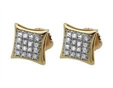 10K Yellow Gold Kite Pave Genuine Round Shaped Diamond Stud Earrings 1/10th 7MM