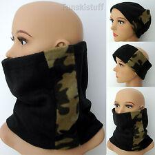 Mens ladies NECKWARMER BLACK camouflage neck warmer scarf snood fleece tube ski