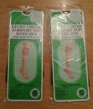 Lucky Circle Sheer Socks 2 Pairs Comfort Top Knee Hi's SUNTAN Vintage One Size