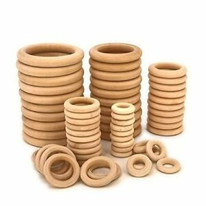 60 Pcs Unfinished Wooden Rings for Crafts 5 Sizes Solid Wood Circles DIY Macrame