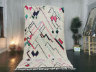 """Moroccan Azilal Handmade Carpet 4'8""""x8'4"""" Abstract Berber White Pink Wool Rug"""