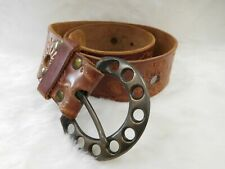 Vintage Groovy Brass Belt Buckle with Wide Tooled Leather Belt