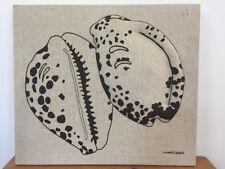 Vtg Marushka Cowrie Shell Sea Raised Linen Stretched Canvas Screen Print Art