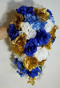 Royal Blue Gold White Rose Hydrangea