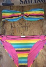 Strapless Bandeau Tube A B Foil Metallic Gold Sexy Stripe Swimsuit M Bikini