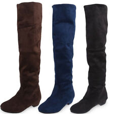 Women Ladies Flat Low Heel Over The Knee Thigh High Stretch Suede Boot Shoes SAU