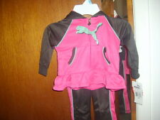 PUMA BABY LONG SLEEVE JOGGING SUIT YOGA PANT SIZE 12 MOS. FUSHIA BROWN 100% POLY