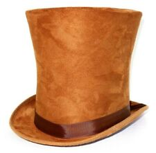 ADULT TALL BROWN TOP HAT VICTORIAN STOVE PARTY MAGICIAN HALLOWEEN STEAMPUNK UK