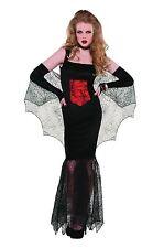 Womens Black Widow Vampire Halloween Costume Fancy Dress Adult Size 10-12