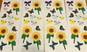 """Creative Memories 2"""" x 5"""" Stickers Sunflowers   Butterflies  Summer Lot Of 4"""