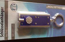 LED Schlüsselanhänger, Lampe, kleine Taschenlampe,Key Fob, Farbe: Blau - silber