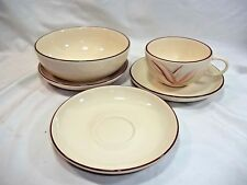 Dragon Flower Winfield China California 5 piece Set Coffee Cup Bowl Saucers MCM