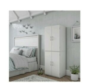 Tall White Wooden Storage Pantry Bedroom Cabinet 4 Doors
