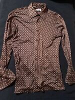 vintage G.FOX  print vacation shirt LARGE Long Sleeve Button Up 16 16 1/2 Mens