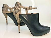 ENZO ANGIOLINI Ladies Black Leather Ankle Strap Boots Stiletto Heel 40 UK 6.5
