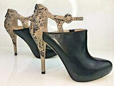 ENZO ANGIOLINI Ladies Black Leather Ankle Strap Boots Stiletto Heel 40 UK 6.5
