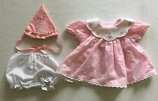 """American Girl Bitty Baby Doll Pink Gingham """"Happy Birthday"""" Dress Hat Bloomers"""