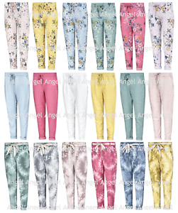 New Ladies Italian Stretch Womens Plain Magic Floral Trousers Casual Joggers