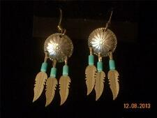 Zuni Indian Sterling Silver Feathers Dream Catcher Tuquoise Bead Dangle Earrings
