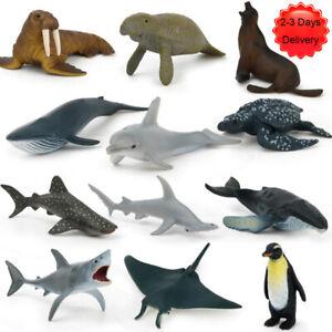 12pcs Kids Toy Plastic Sea Animals Ocean Shark Dolphin Whale Model Figures Gift