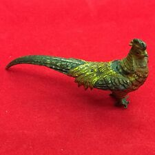 Antique Miniature Cold Painted Bronze Figure Of A Pheasant 6cm