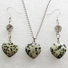 Dalmation Jasper Heart & Tibet Silver Flower Earring & Necklace Set S0917