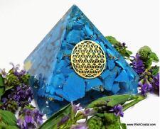 Halo Turquoise Real Orgone Orgonite Energy Metal Coil Reiki Chakra Pyramid