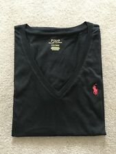 NWT Authentic Polo Ralph Women's Black V Neck Pony Logo TShirt - Size Large