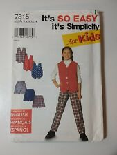 Simplicity 7815 Size 7-14 Girls' Vest Pants Shorts