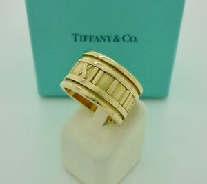 Authentic Vintage Tiffany & Co. Atlas 12mm Wide 18k Yellow Gold Band Ring US7
