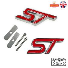 ST RED FRONT GRILL & REAR SET METAL LOGO FORD FOCUS FIESTA DECAL FIXING KIT