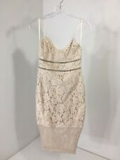 BOOHOO WOMEN'S SABINA ALL OVER LACE PANELLED MIDI DRESS  NUDE UK:6/US:2 NWT $58