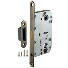 Mortice Door Euro Profile Cylinder Lock Body with Silent Magnetic Latch, Bronze
