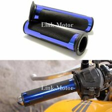 """BLUE CNC ALUMINUM MOTORCYCLE RUBBER GEL HAND GRIPS FOR 7/8"""" HANDLEBAR SCOOTER US"""