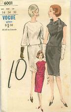 Vintage Vogue Vestido De Dos Piezas & Bufanda de patrón de costura 6001 Talla 14