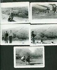 Lot of 5 Vintage Gun Photos Handsome Men on Beach Shooting Hunting Rifles 414092