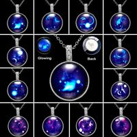 Magic Luminous Glow In The Dark Constellation Crystal Womens Pendant Necklace