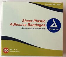 "Band Aids box of 100  3/4'"" x 3"" sheer plastic bandages sterile"