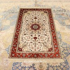 Yilong 3'x5' Floral Hand Knotted Silk Area Rug Oriental Floor Carpet J12B