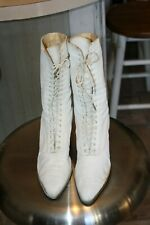Antique Victorian Edwardian Shoes women's White High Top Lace Ankle Boots