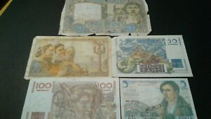 World Old Bank notes France Scarce currency 195 FRANCS 1941/1943/1949/1951/!!!!!