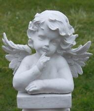 Statue ange silencieux en pierre reconstituée, ton pierre blanche