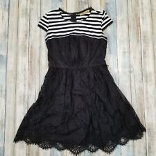 Princess Vera Wang Dress Black White Empire Waist Lace Stripes Womens Size 1