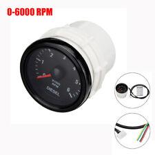 """2"""" 52mm 0-6000 RPM Tachometer Gauge Meter White LED For Diesel Motor Engine Car"""